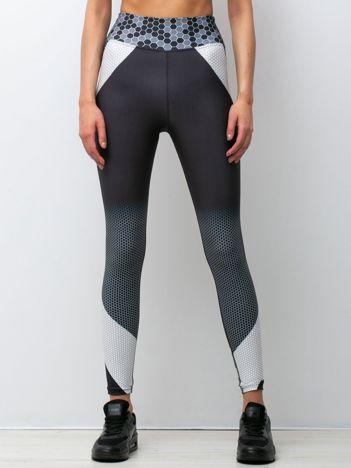 Czarno-białe legginsy Technology