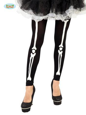 Czarno-białe legginsy damskie z nadrukiem kości szkieletu