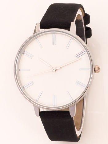 Czarno-biały klasyczny zegarek damski na wąskim pasku