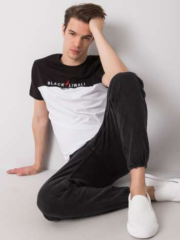 Czarno-biały t-shirt męski Morris LIWALI
