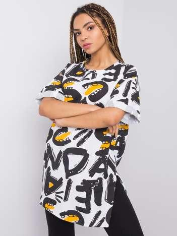 Czarno-biały t-shirt z printem Giada