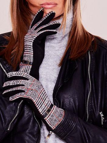 Czarno-bordowe eleganckie rękawiczki ocieplane ze wzorem