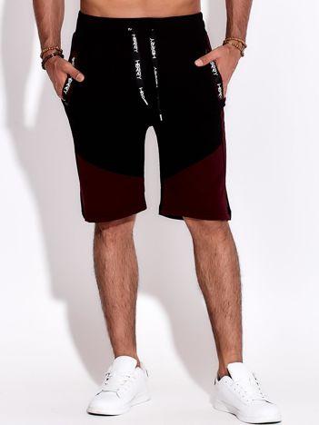 Czarno-bordowe szorty męskie sportowe z kieszeniami i troczkiem