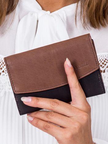 Czarno-brązowy portfel damski skórzany