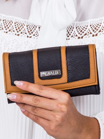 Czarno-brązowy portfel z przeszyciami