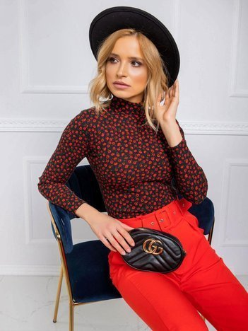 Czarno-czerwona bluzka Rose RUE PARIS