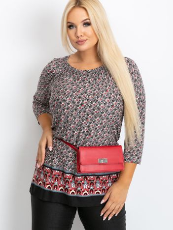 Czarno-czerwona bluzka plus size Newbury