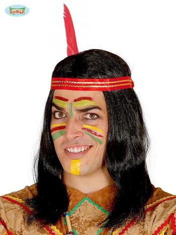 Czarno-czerwona męska peruka Indianin z opaską i piórem