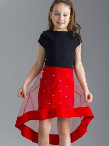 Czarno-czerwona sukienka dziewczęca z tiulem