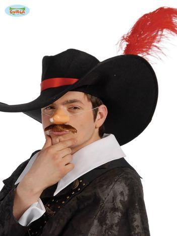 Czarno-czerwony męski kapelusz muszkietera na imprezę