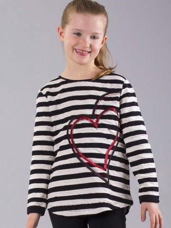 Czarno-ecru bluza dziewczęca w paski z cekinami