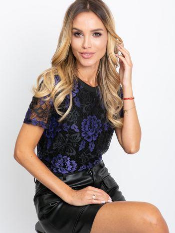 Czarno-fioletowa bluzka Mocca