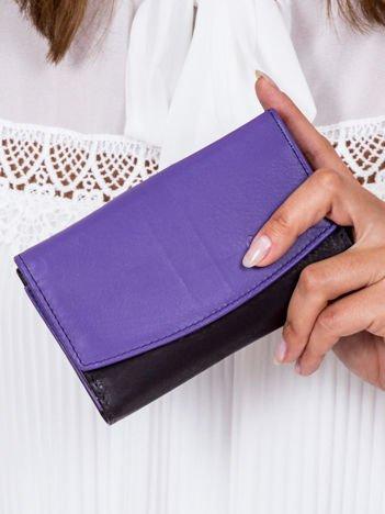 Czarno-fioletowy portfel damski skórzany