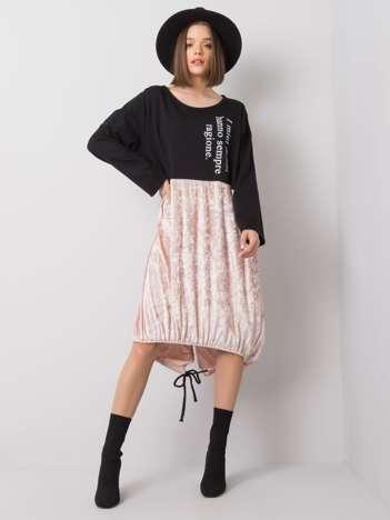 Czarno-różowa sukienka Alvia