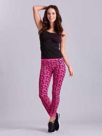 Czarno-różowy komplet fitness top i legginsy