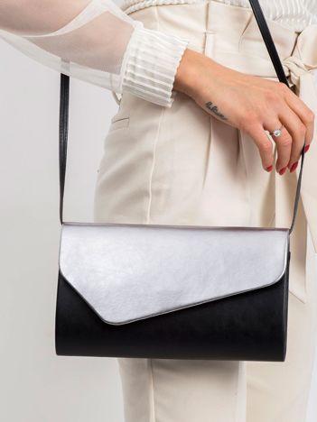 Czarno-srebrna kopertówka z eco skóry
