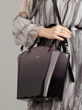 Czarno-szara lakierowana torba damska