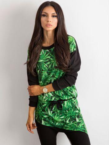 Czarno-zielona bluza z nadrukiem BY O LA LA