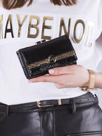 Czarno-złoty portfel damski