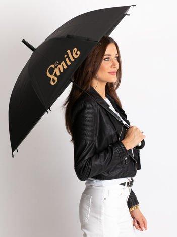 Czarno-żółty parasol z nadrukiem