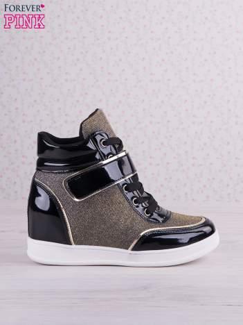 Czarnozłote mieniące sneakersy Lea z lakierowanymi wstawkami