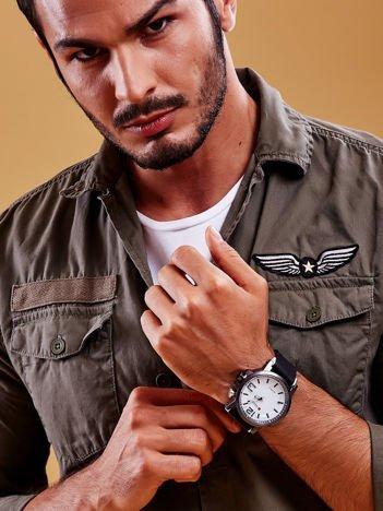 Czarny Sportowy Zegarek Męski z Białą Tarczą