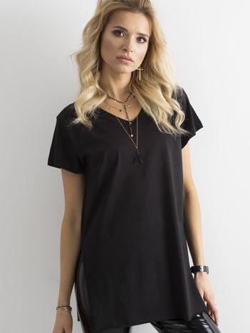 Czarny bawełniany t-shirt damski