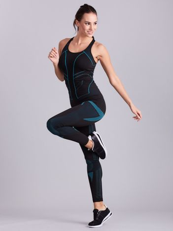 Czarny damski komplet sportowy top i legginsy