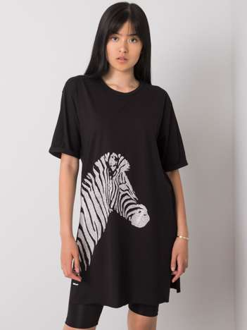 Czarny długi t-shirt Zebra