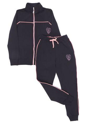 Czarny dresowy komplet dla dziewczynki spodnie i bluza