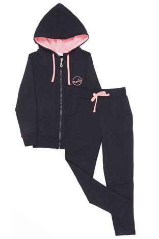 Czarny dresowy komplet dla dziewczynki z kontrastowym wykończeniem