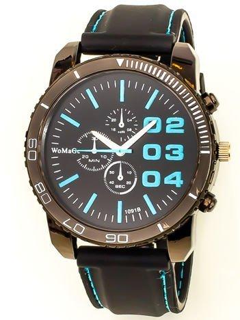 Czarny duży zegarek męski na silikonowym wygodnym pasku z błękitnymi wstawkami