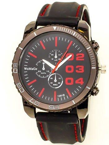Czarny duży zegarek męski na silikonowym wygodnym pasku z czerwonymi wstawkami