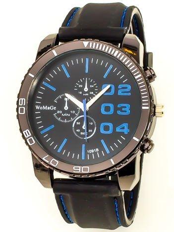 Czarny duży zegarek męski na silikonowym wygodnym pasku z granatowymi wstawkami