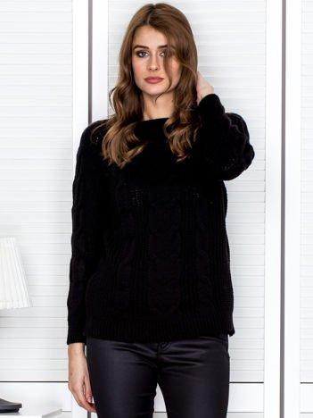 Czarny dziergany sweter damski