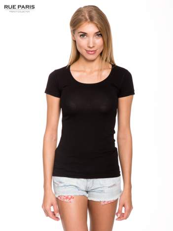 Czarny gładki t-shirt