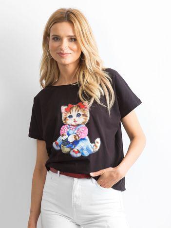 Czarny luźny t-shirt Sweetness