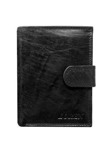 Czarny męski pionowy portfel skórzany