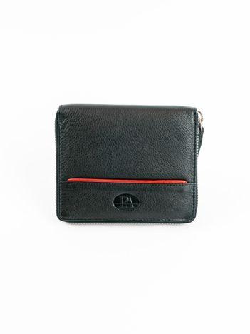 Czarny męski portfel ze skóry na suwak
