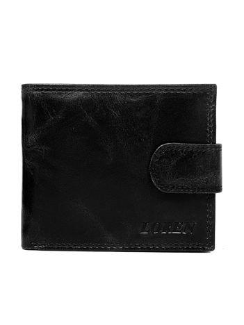 Czarny męski portfel ze skóry z zapięciem
