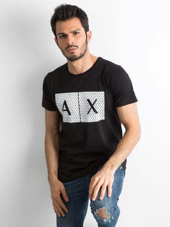 Czarny męski t-shirt z nadrukiem