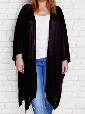 Czarny otwarty sweter PLUS SIZE