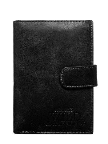 Czarny pionowy portfel dla mężczyzny
