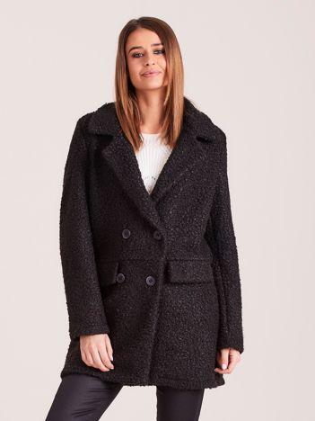 Czarny płaszcz dwurzędowy