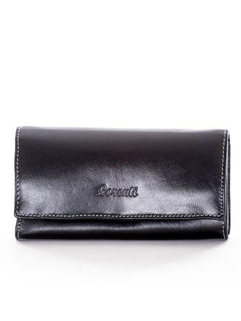 Czarny podłużny portfel ze skóry naturalnej