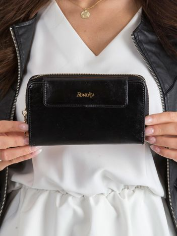 Czarny portfel damski ze skóry