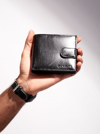 Czarny portfel dla mężczyzny ze skóry naturalnej poziomy