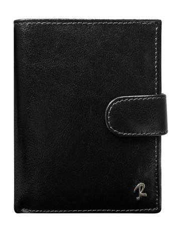 Czarny portfel dla mężczyzny ze skóry naturalnej zapinany na napę