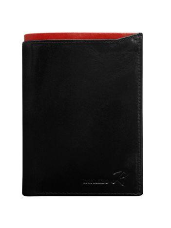 Czarny portfel skórzany męski z czerwonym wykończeniem