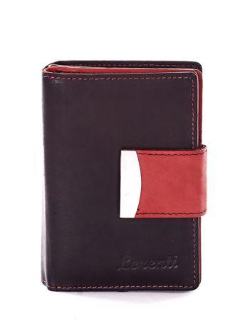 Czarny portfel z czerwonym wykończeniem